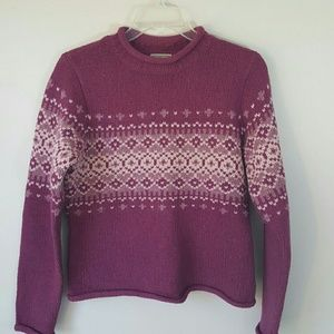 L.L. BEAN Pink Wool Fair Isle Sweater-XS